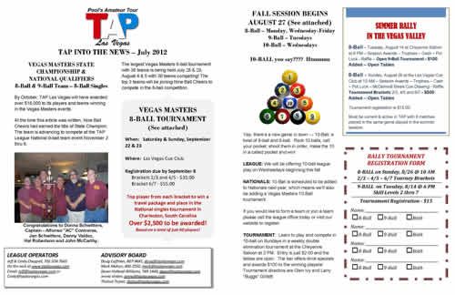 tap pool league news